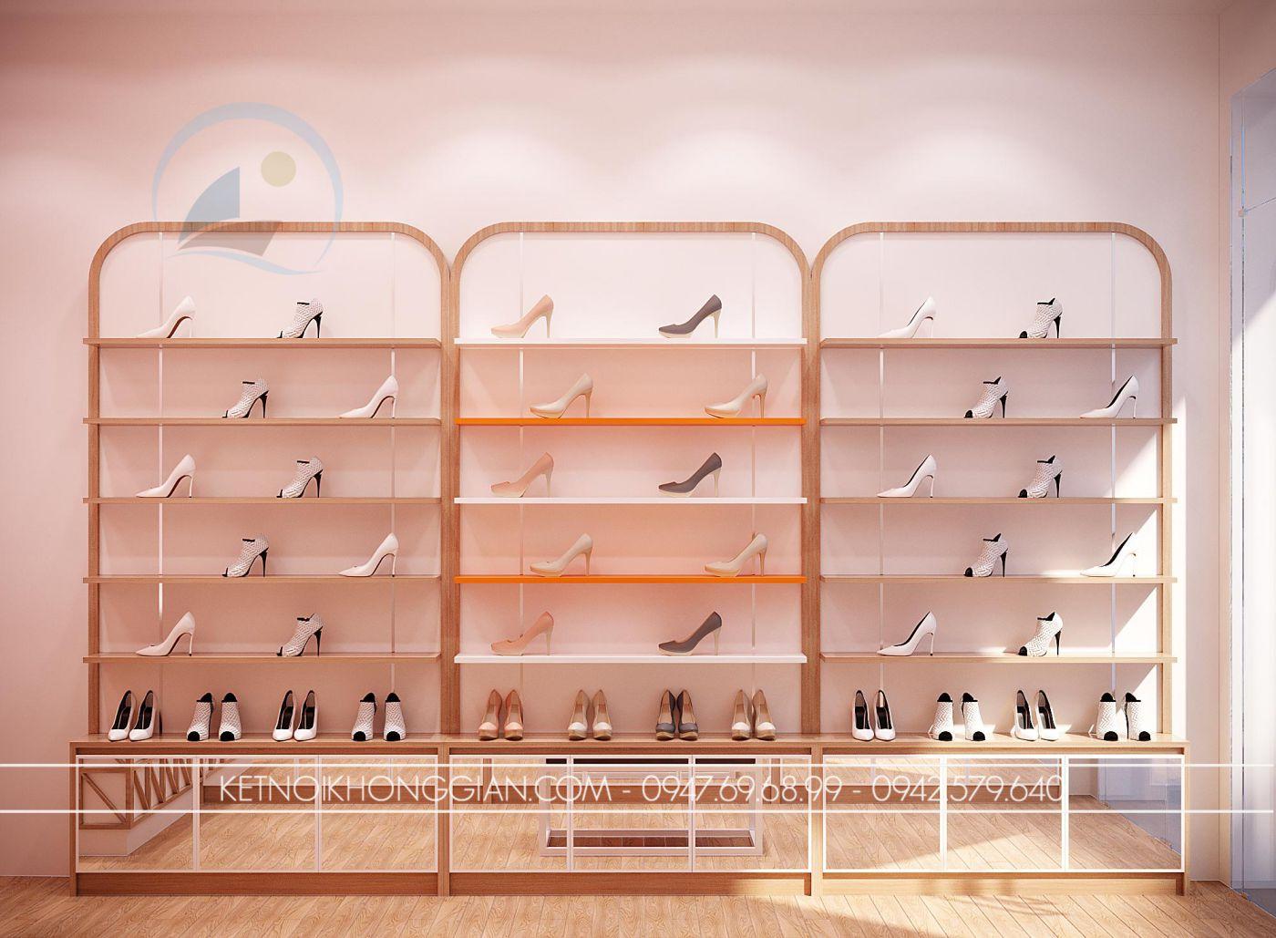 kệ trưng bày giày dép shop