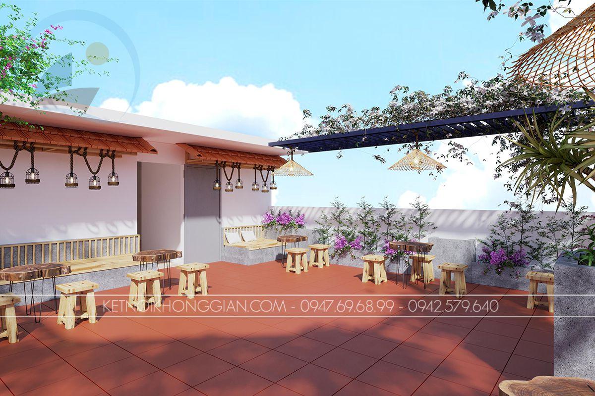 thiết kế cửa hàng cà phê sân thượng