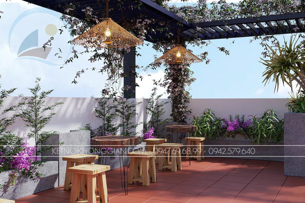 thiết kế quán cafe sân thượng hà nội