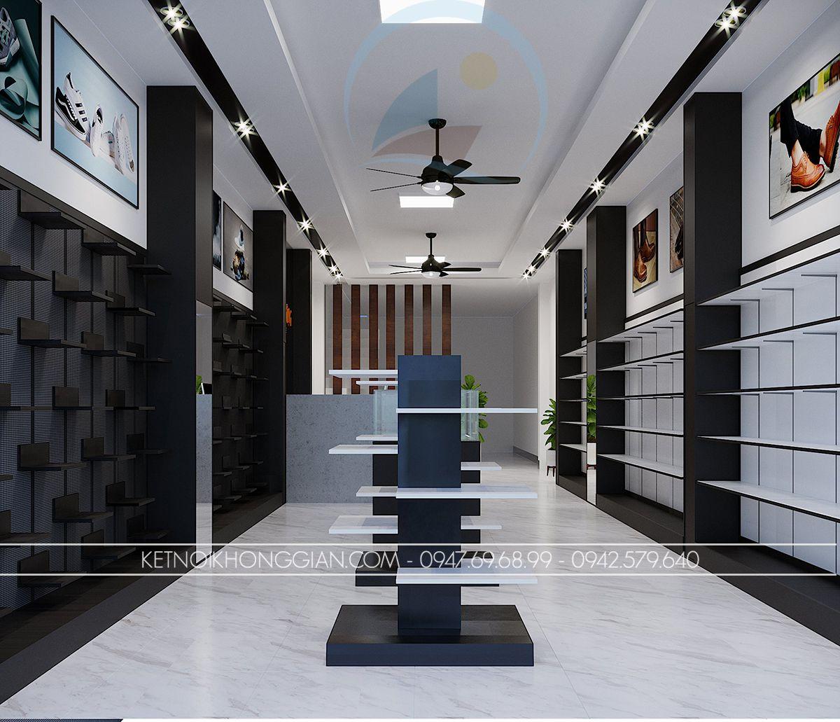 thiết kế shop giày dép nam 40m2