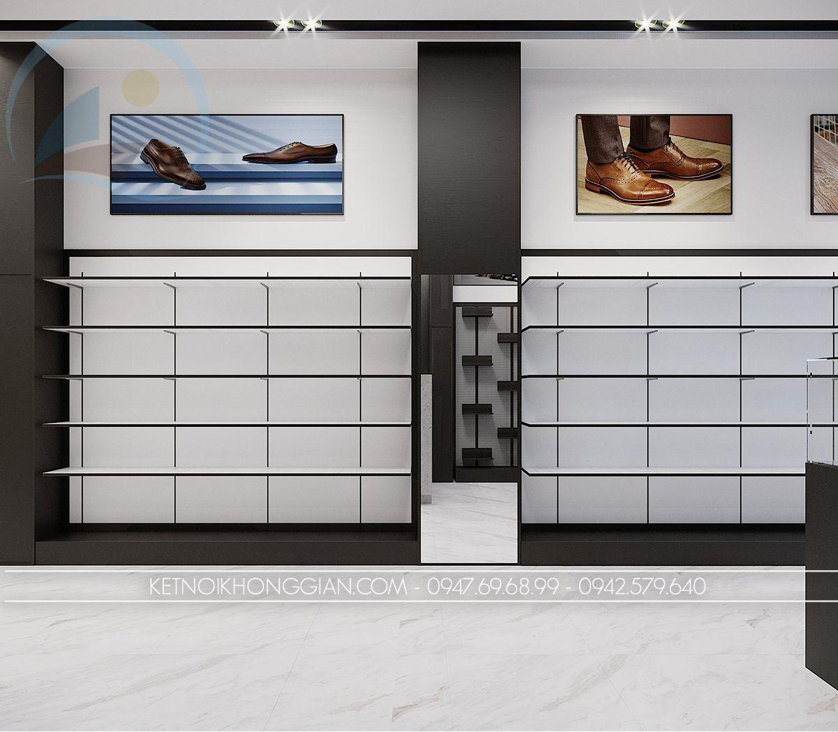 thiết kế nội thất cửa hàng giày dép cao cấp