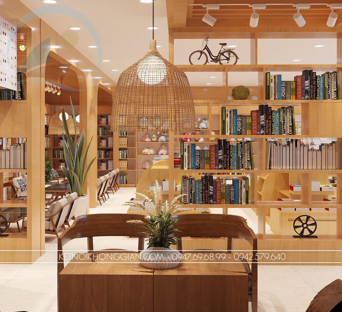 thiết kế nội thất quán cafe sách