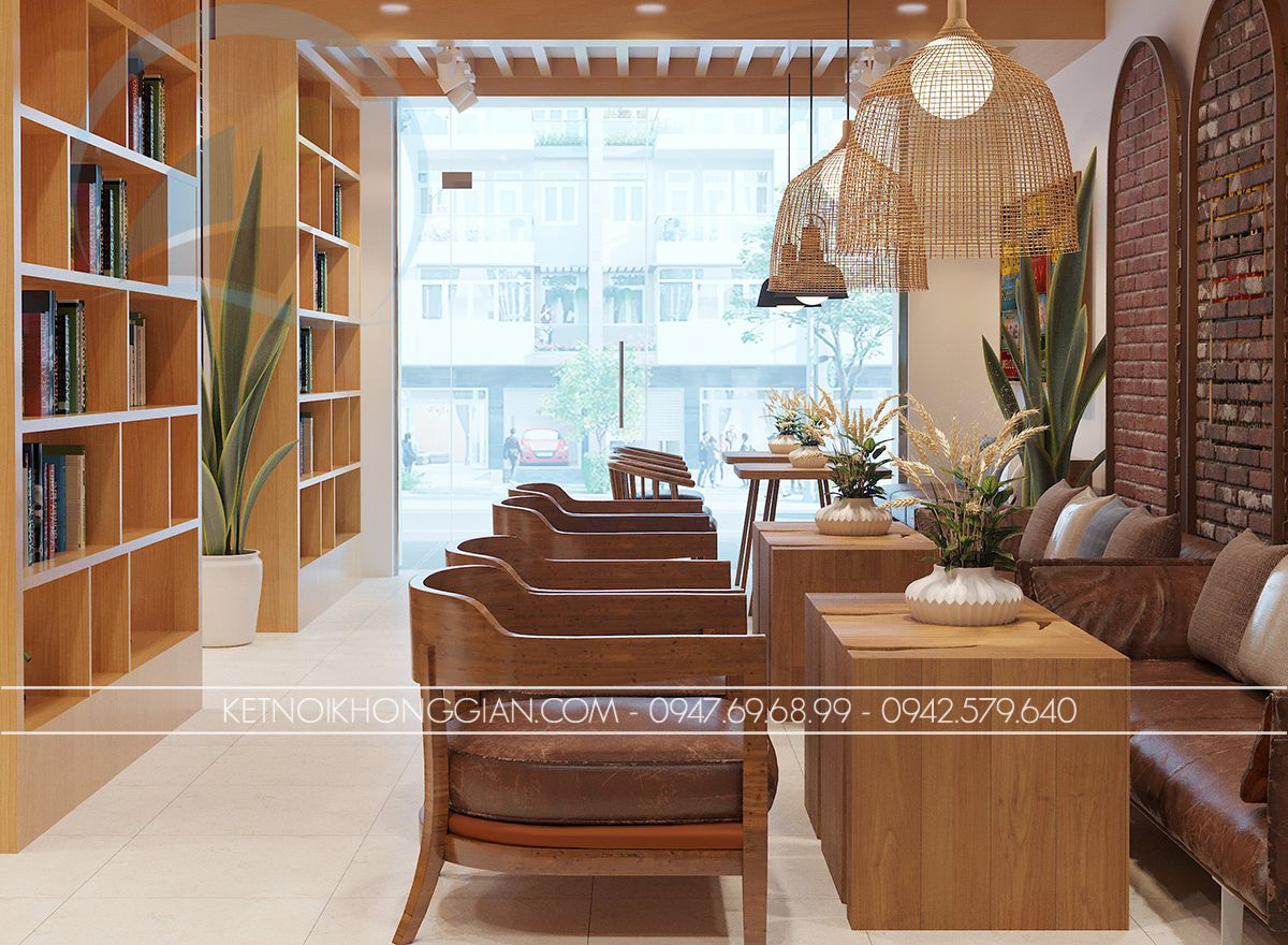 mẫu thiết kế quán cafe sách
