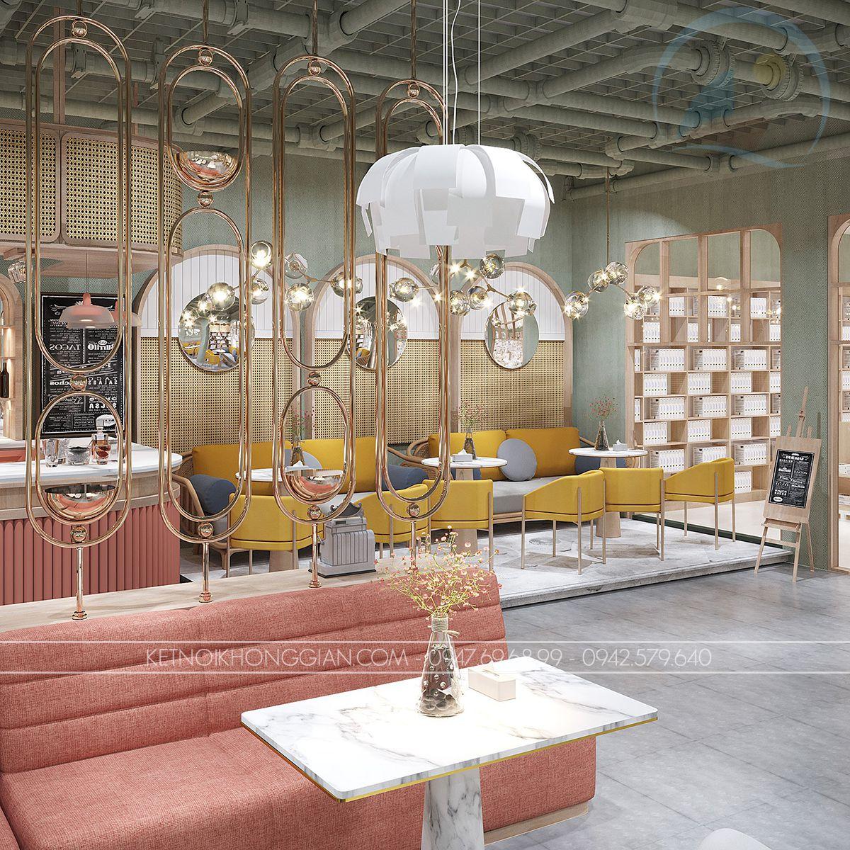 thiết kế quán cafe sách 160m2