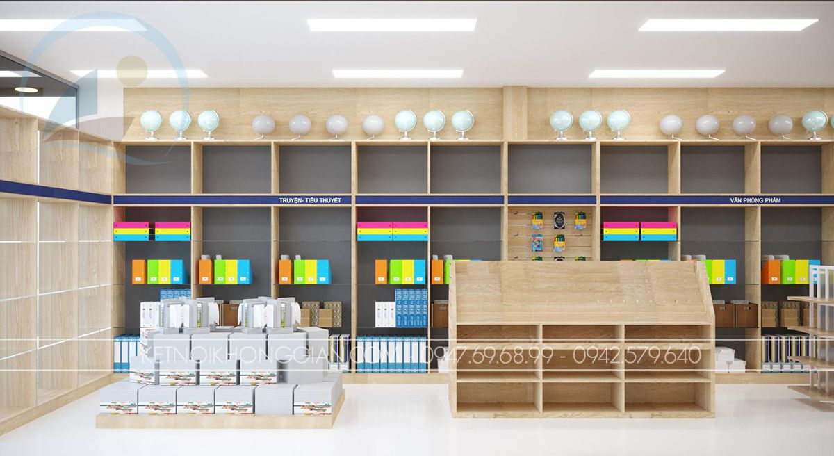 thiết kế cửa hàng sách vở
