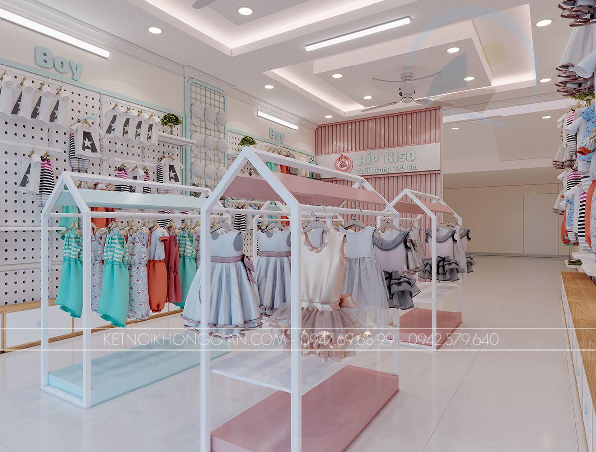 thiết kế shop thời trang trẻ em 32m2