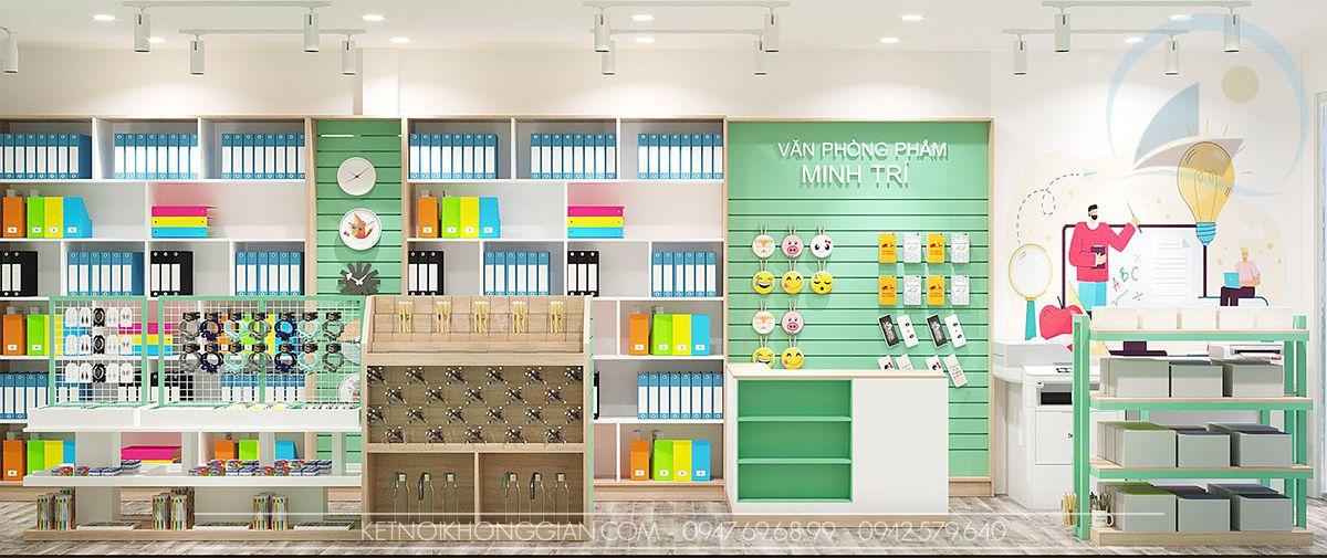 thiết kế cửa hàng văn phòng phẩm 27m2