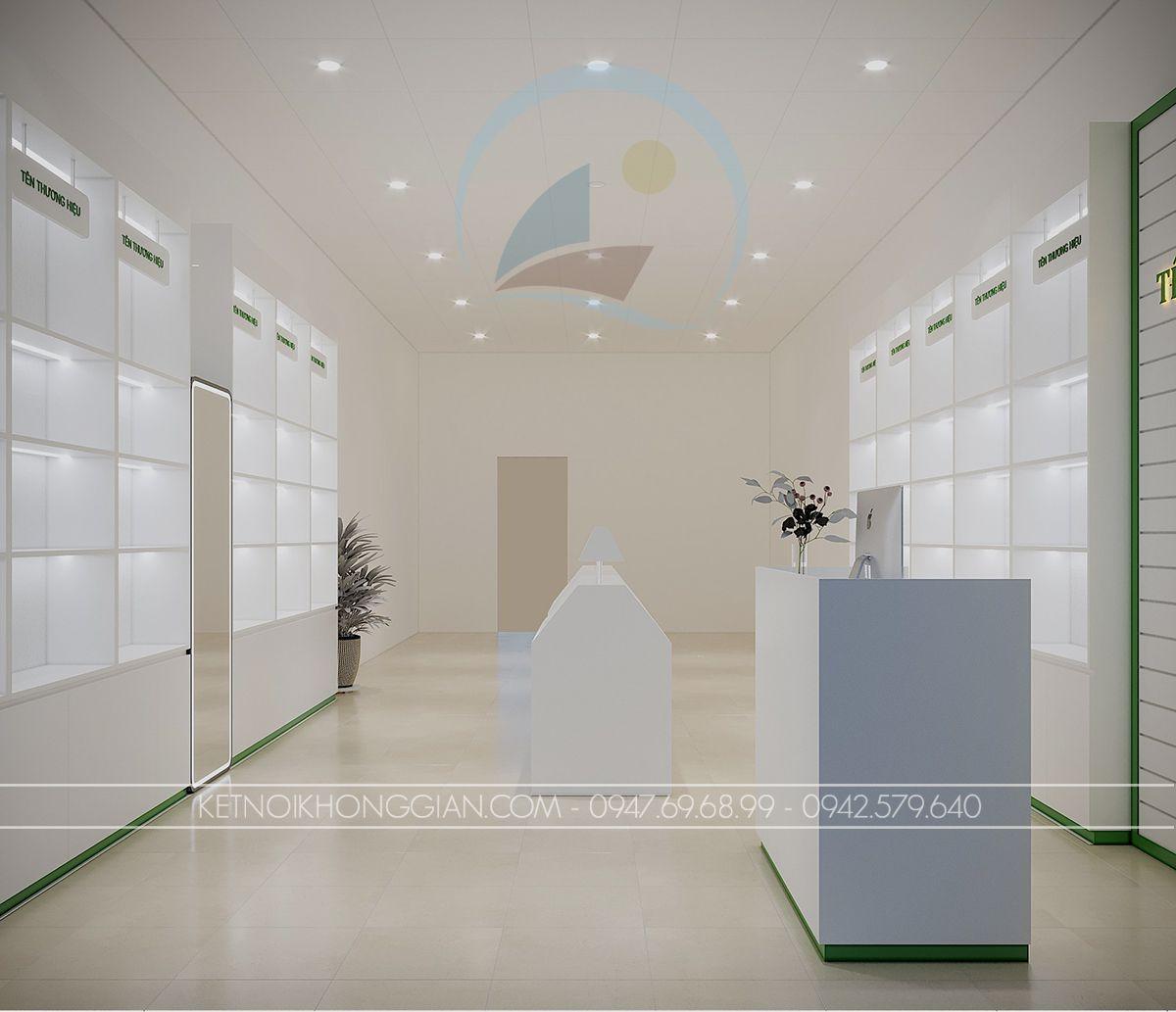 thiết kế shop mỹ phẩm 30m2