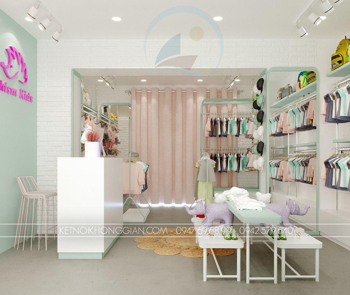 thiết kế shop quần áo trẻ em 25m2