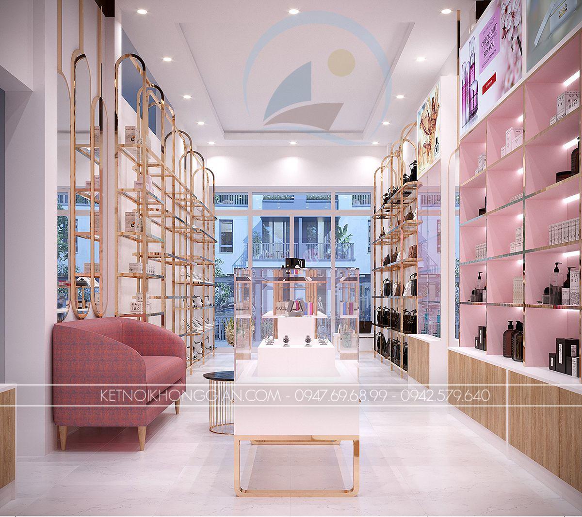 thiết kế nội thất shop giày và túi