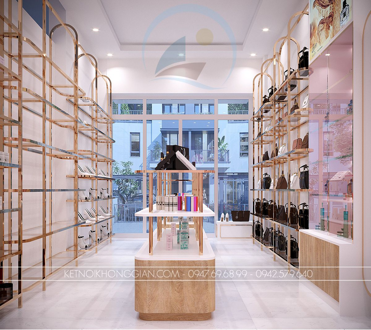 giá kệ trưng bày giày và túi